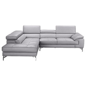 Olivia Premium Leather Sectional Sofa, Element Gray, Left Hand Facing Chaise