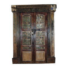 Mogulinterior - Consigned Antique Indian Hand-Carved Haveli Double Jali Door & Frame - Interior Doors