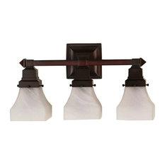 "Meyda 18"" Bungalow White Alabaster Swirl 3-Light Vanity Light"