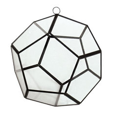 """Hanging Hydroponic Glass Geometric Dodecahedron Terrarium, Candle Holder, 8"""""""