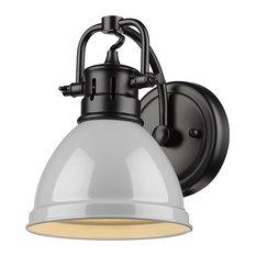 Duncan 1 Light Bath Vanity, Black, Gray Shade