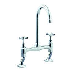 Deva Coronation Traditional Pillar Bridge Kitchen Sink Mixer Tap, Chrome