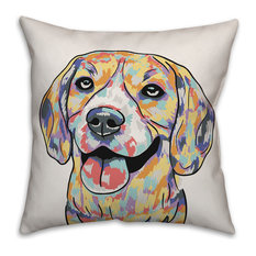 Watercolor Beagle Throw Pillow