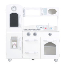 Teamson Kids Childrens Large Wooden Play Kitchen White Toy Cooker Set