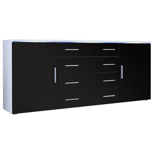 Sideboard, MDF With 2-Door, 4-Drawer and 2 Flexible Shelves, Modern Design