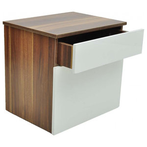 VidaXL 1 Drawer Bedside Cabinet Bedroom Table, Brown and White