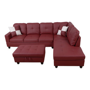 L Shape Sectional Sofa Set with Storage Ottoman, Red, Right Hand Facing Chaise