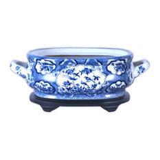 Unique Blue and White Porcelain Foot Bath Basin Chinese Bird Motif