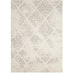 Nourison - Nourison Damask Area Rug, Ivory, 8'x10' - Sumptuous chenille provides the softest imaginable sensation for this jacquard-woven area rug from the Nourison Damask Collection. A diamond repeat pattern of gently faded fleur-de-lys completes the effect with an elegant flourish, in tasteful ecru-on-ivory.