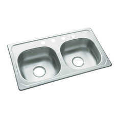 Sterling Stainless steel Double Bowl 4-Hole Drop-in Kitchen Sink, Satin