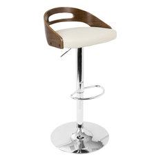 Cassis Mid-Century Modern Adjustable Barstool With Swivel, Walnut and Cream