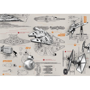 Star Wars Photo Wall Mural, X Wing Fighter Millennium Falcon, 368x254 cm