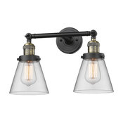 Small Cone 2-Light Bath Fixture, Clear Glass, Black Brush Brass