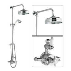 Ceramic & Chrome Thermostatic Shower System With Rose Head and Grand Riser Kit