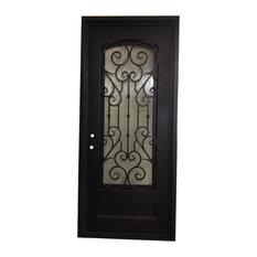 "Vatican Iron Door 40""x96"", Square Top With Eyebrow Glass, Rain Glass"