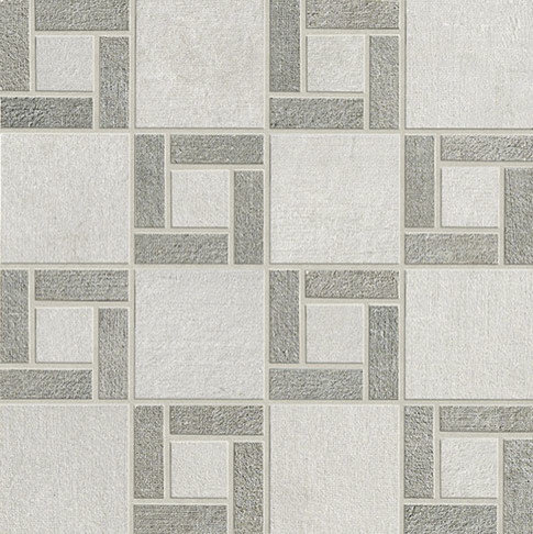 Fly Zone Fiber Porcelain Tile Series - Bianco with Grigio Mosaic - Wall And Floor Tile