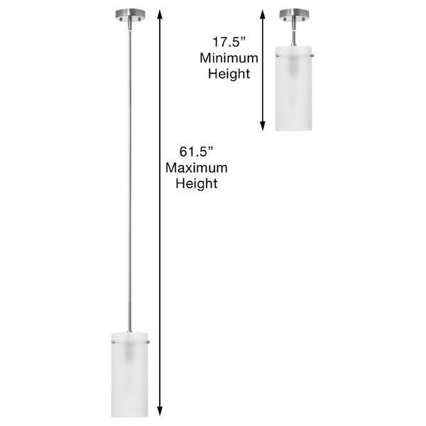 Effimero 1-Light Stem Hung Pendant Lamp, Brushed Nickel, Large