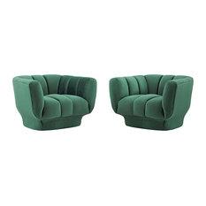Entertain Vertical Channel Tufted Performance Velvet Armchair Set Of 2 Green