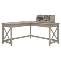 "Bush Furniture Key West 60"" L Shaped Desk With Desktop Organizers, Washed Grey"