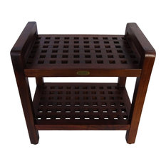"""Espalier Lattice Teak Shower Benches With Shelf And LiftAid Arms, 20"""""""