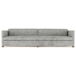 Transitional Sofas Madison 10' Crushed Velvet Sofa, Silver Streak, Classic Depth