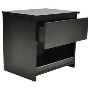 VidaXL 1 Drawer Bedside Cabinet Bedroom Table, Black