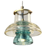 Railroadware - Pyrex Insulator Lantern Pendant Clear Blue, Aqua Insulator - This brass & glass lantern fixture will add a distinctive visual decor to your hangar, kitchen, office or restaurant. Achieve a rustic, industrial or a modern look that people will notice and appreciate the optical performance & origin.