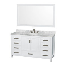 "Single Bathroom Vanity, Countertop, Undermount Oval Sink, White, 58"" Mirror, 60"""