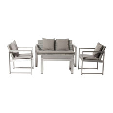 Outdoor Lounge Set In Gray/ Taupe Set of 4