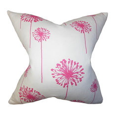 The Pillow Collection Inc. - Dandelion Floral Floor Pillow, Pink - Floor Pillows and Poufs