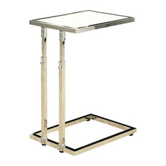Monarch Specialties   Accent Table   Chrome Metal Adjustable Height,  Tempered   Side Tables And