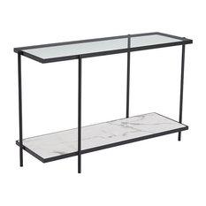 Winslett Console Table, Clear & White & Matt Black