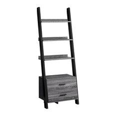 Monarch Bookcase 69-inchH Ladder With 2 Storage Drawer Black
