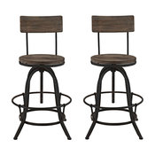 Procure Bar Stool Pine Wood and Iron, Set of 2, Brown