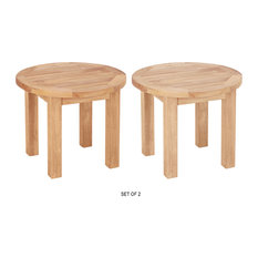"warner levitzson teak outdoor furniture - 20"" Round Side Table, Set of 2 - Outdoor Side Tables"