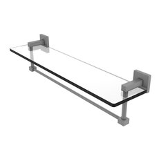 "Montero Collection 22"" Glass Vanity Shelf With Integrated Towel Bar, Matte Gray"