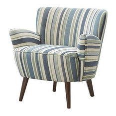 Modhaus Living   Mid Century Retro Style Blue And Green Stripes Print  Upholstered Accent Armch
