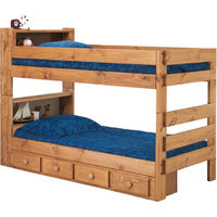 Twin Over Twin Bookcase Bunk Bed with Rails and Drawers, Natural, Twin Extra Lo