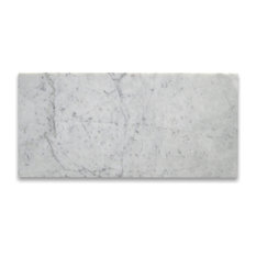 "6""x12"" Marble Subway Tile Polished Italian Bianco Carrera, Set of 400"