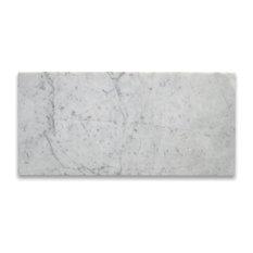 "6""x12"" Marble Subway Tile Polished Italian Bianco Carrera, Set of 200"