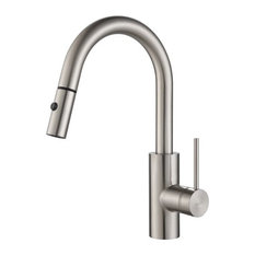 KRAUS Spot Free Oletto Single Handle Pull Down Kitchen Faucet, Stainless Steel