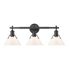 Orwell 3 Light Bath Vanity, Matte Black With Opal Glass