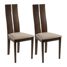 Contemporary Set of 2 Chairs, Walnut Finished Solid Wood With High Back