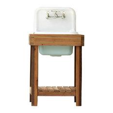 Reclaimed Wood Utility Farm Sink Stand, Cast Iron Porcelain, High Back, Aqua
