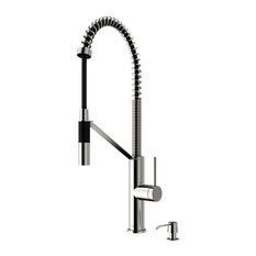 Livingston Pull Down Kitchen Faucet With Soap Dispenser, Stainless Steel