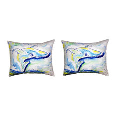 Pair of Betsy Drake Blue Whale No Cord Pillows 16 Inch X 20 Inch