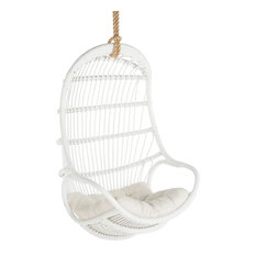 Hanging Rattan Swing Chair with Seat Cushion, White by KOUBOO