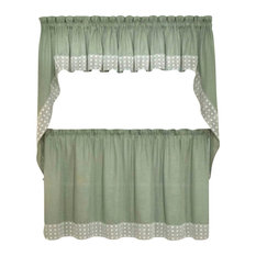 "Salem Kitchen Curtain, Sage, 24"" Tier"