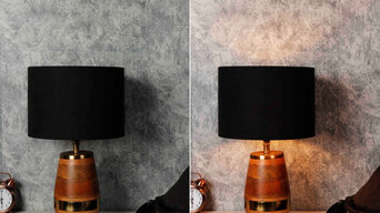 Buy tribal table lamp with round black lampshade