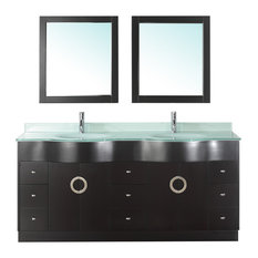 Zoe 72'' Vanity Set , Espresso and Mint Green Glass
